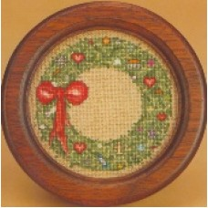 Holiday Wreath with walnut frame